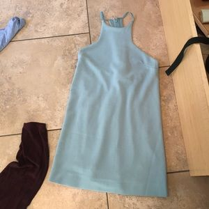 Light blue teal racer back high neck dress